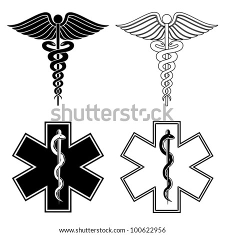 Caduceus and Star of Life Medical Symbols is an illustration of a Caduceus and Star of Life medical symbols in black and white. - stock vector