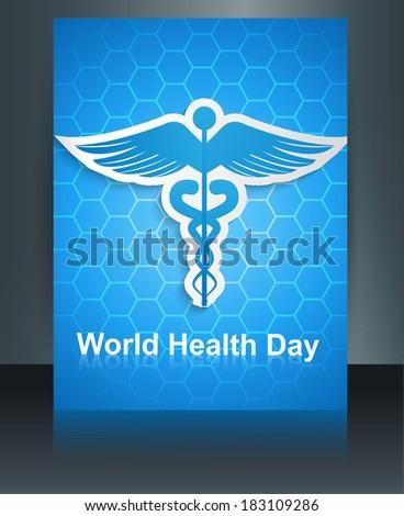 Caduceus medical symbol brochure colorful template World health day reflection design vector - stock vector