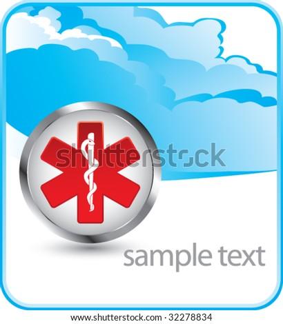 caduceus medical symbol cloud banner - stock vector