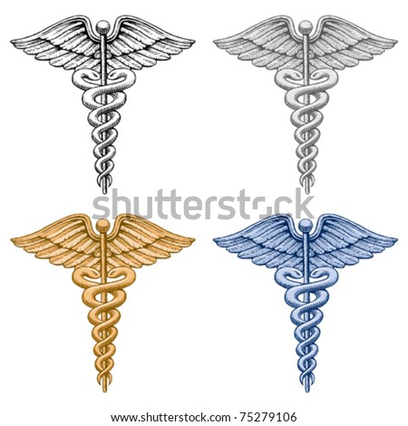 Caduceus Medical Symbol is an illustration of four versions of the Caduceus medical symbol. Vector format is easily edited or separated for print and screen print. - stock vector