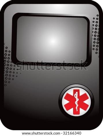 caduceus medical symbol on black template banner - stock vector