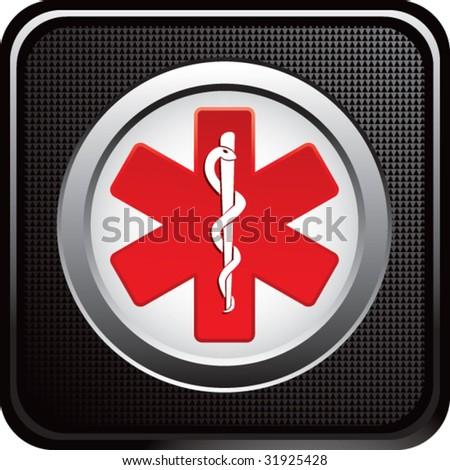 caduceus medical symbol on black web button - stock vector