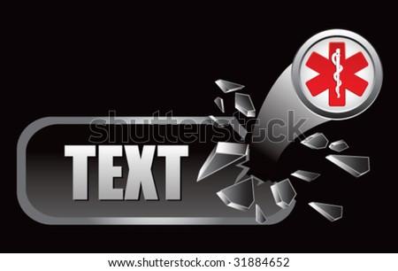 caduceus medical symbol on broken banner - stock vector