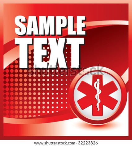 caduceus medical symbol on red halftone banner - stock vector