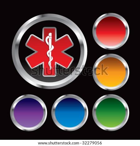 caduceus medical symbol on round web buttons - stock vector