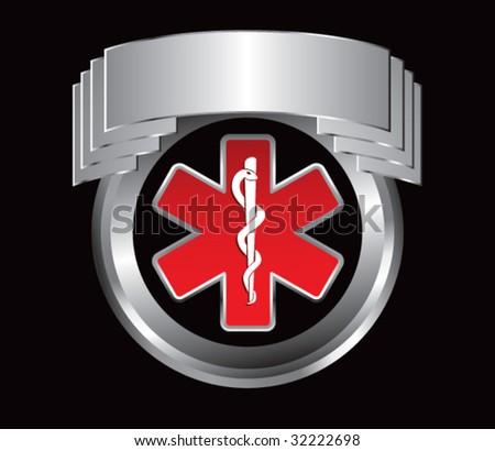 caduceus medical symbol on silver crest - stock vector