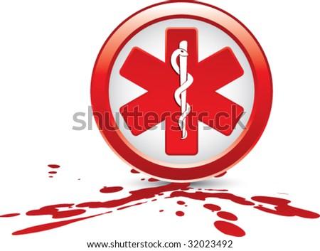 caduceus medical symbol on splat - stock vector
