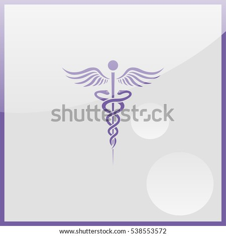 Caduceus of Hermes healthcare flat icon.