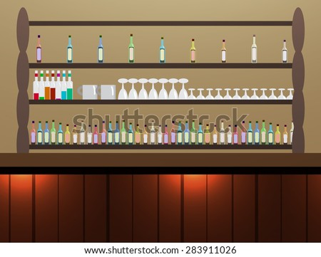 Cafe alcohol drink bar interiors background with nobody and no chair. wooden rack and bar with many colorful alcohol bottle and glass wine  on shelf - stock vector