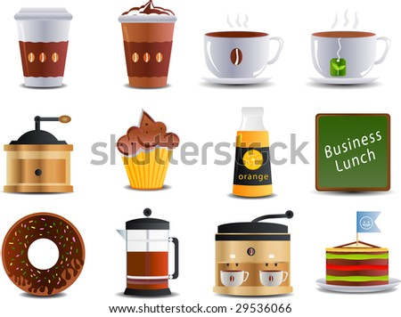 Cafe and bistro set of 12 icons - stock vector