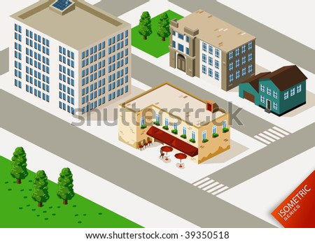 Cafe and Buildings Isometric - stock vector