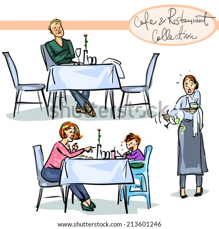 cafe and Restaurant Collection (new edition) - hand drawn scenes . Set 4 - stock vector