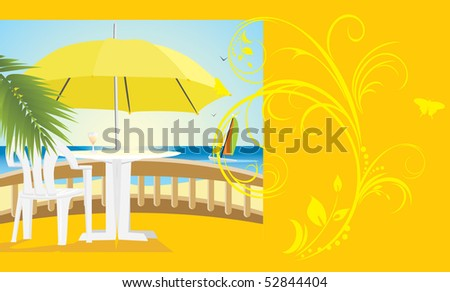 Cafe at a sea. Kind from a balcony. Background for card. Vector - stock vector