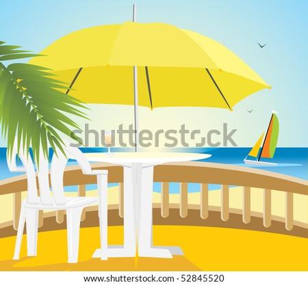 Cafe at a sea. Vector - stock vector
