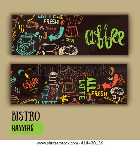 Cafe banner template design with lettering for coffee shop. Hand drawn cafe menu design. Modern hipster colorful cafe menu. Vector illustration of cafe banners - stock vector