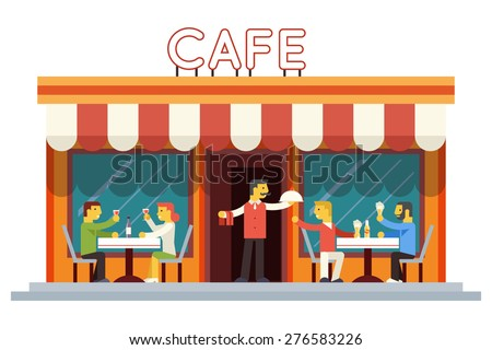 Cafe Building Facade Customer People Eating Drinking Waiter Serving Dish Icon Background Flat Design Vector Illustration