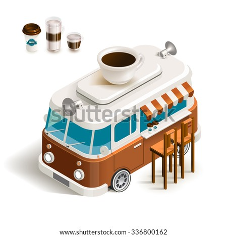 Cafe car coffee shop on wheels. Stock vector color isometric illustration Van with coffee - stock vector