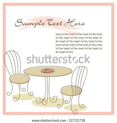 Cafe chair and table template 02 - stock vector