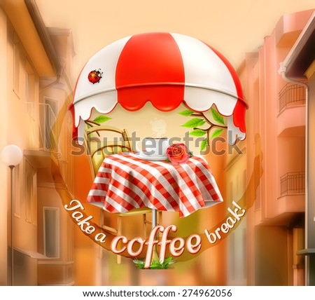 Cafe, coffee and pastry shop, a cup of coffee with rose on a table, awning with ladybug. Street background, invitation to a break, lunch time, vector advertising sign for cafe and coffee shops - stock vector
