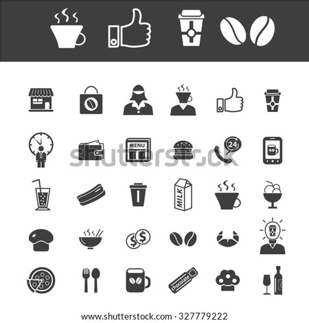 cafe, coffee icons - stock vector