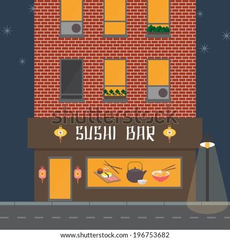 Cafe facade, building exterior. Sushi bar, restaurant in oriental style. Streetlight and night road. Flat design vector illustration. - stock vector