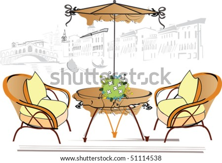 Cafe in Italy - stock vector