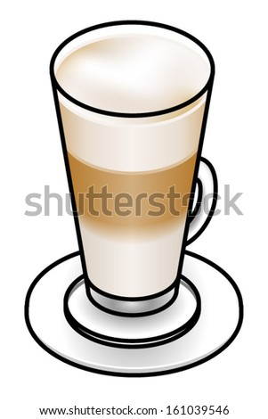 Cafe latte in a tall glass with layers of milk foam, coffee and milk.
