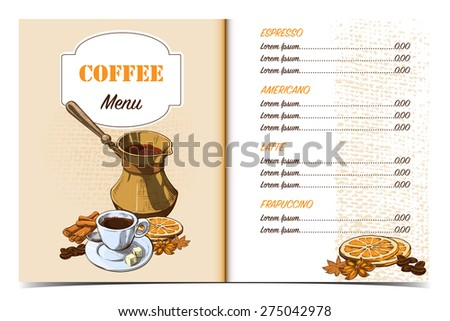 Cafe menu template front page oldfashioned stock vector for Coffee price list template