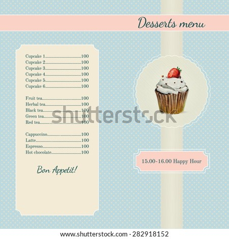 Cafe menu template with watercolor cupcake illustration in retro style