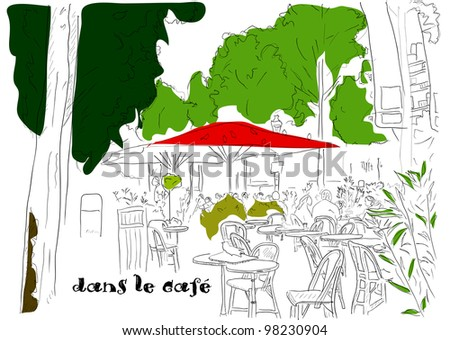 Cafe on the Champs-Elysees. Vector illustration eps8 - stock vector