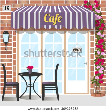 Cafe or coffee shop. Building facade of red brick. Vector illustration eps 10. - stock vector