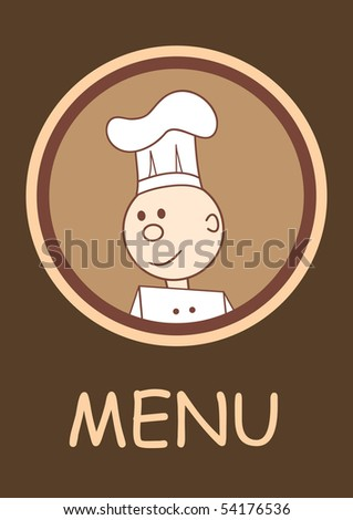 Cafe or restaurant menu with happy smiling chef, vector illustration - stock vector