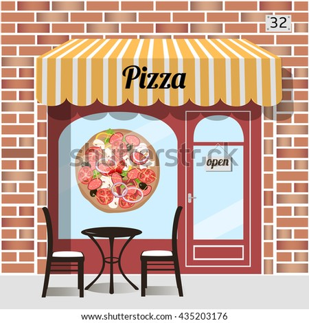 Cafe pizza. Fast food. Table and chairs at the fore, pizza sticker on window. Red brick facade. Vector illustration. - stock vector