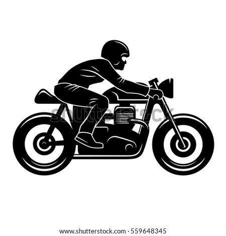 Cafe Racer Silhouette Isolated On White Stock Vector ...