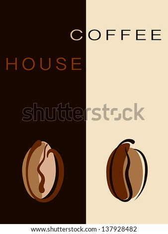 Cafe, restaurant card or coffee house creative menu with beans. Vector eps10 illustration. Raster file included in portfolio - stock vector