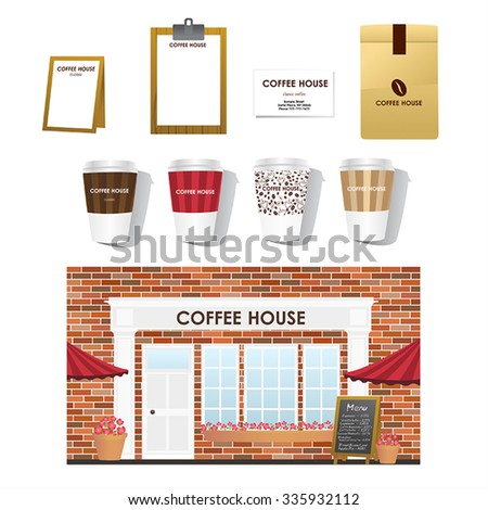Cafe shop front design - stock vector