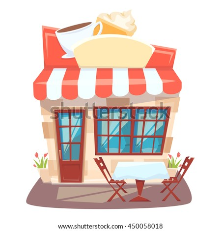 Cafe Shop Front Street Local Cafeteria Stock Vector
