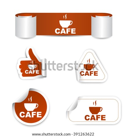 cafe, sticker cafe, brown sticker cafe, brown vector sticker cafe, set stickers cafe, cafe eps10, design cafe, sign cafe, banner cafe - stock vector