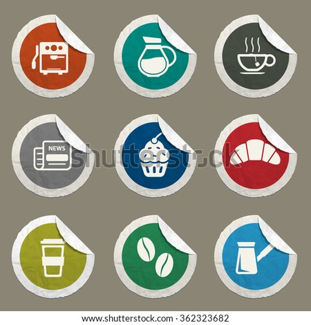 Cafe sticker icons for web
