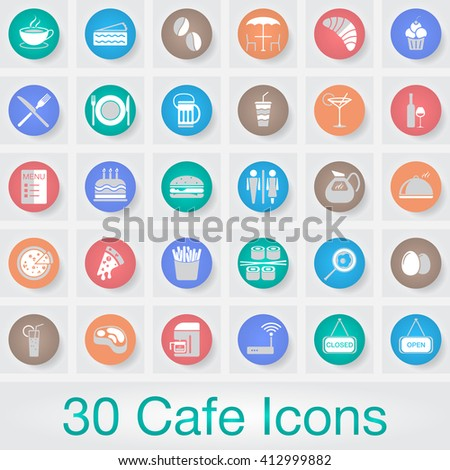 Cafe vector icons set, food modern solid symbol collection, pictogram pack isolated on gray