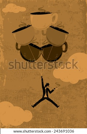 Caffeine High A man in silhouette floating in the air from a caffeine high. The man and coffee cup balloons are on a separate labeled layer from the background. - stock vector