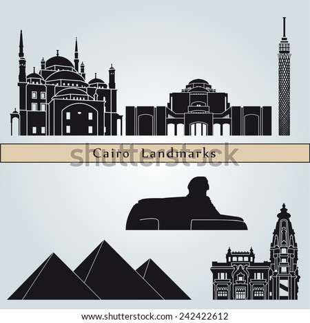 Cairo landmarks and monuments isolated on blue background in editable vector file