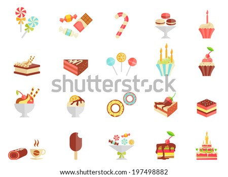 Cake candy and ice cream icons with assorted slices and wedges of cake  cupcakes  ice lolly  ice cream  sundae  parfait  doughnut  coffee and a birthday cake  vector illustration - stock vector