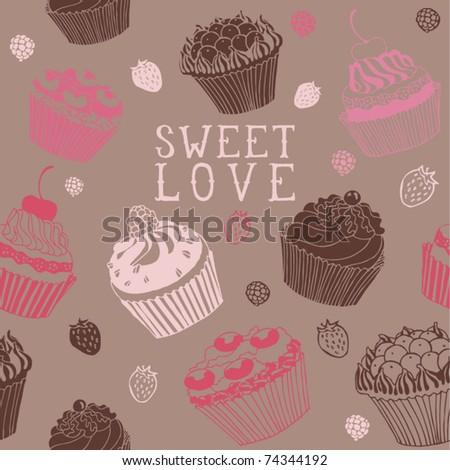cake card - stock vector