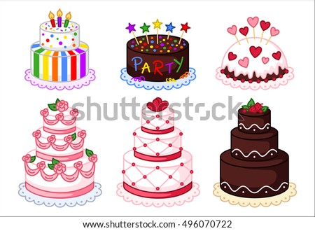 Cake clipart set, colorful cakes vector illustration, sweet clipart, birthday party, wedding cake.
