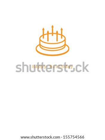 cake happy birthday card - stock vector