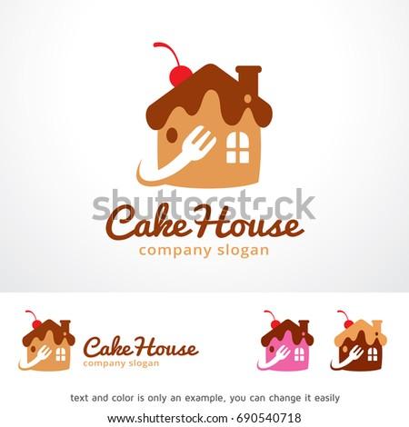 Cake House Logo Template Design Vector Stock Vector 690540718