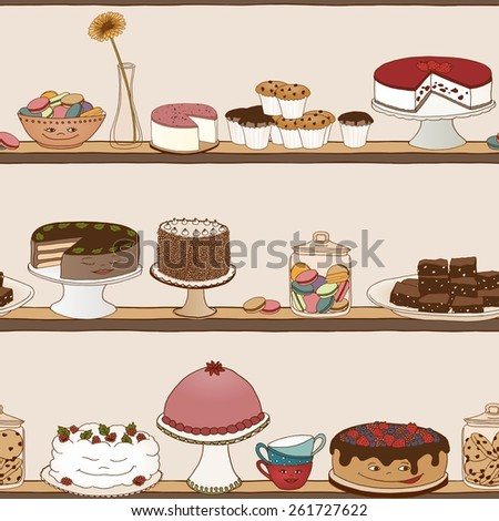 Cake Shop seamless background - hand drawn illustration - stock vector