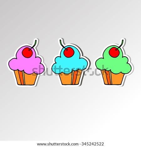 cake sweet birthday cupcake delicious cream food vector dessert - stock vector
