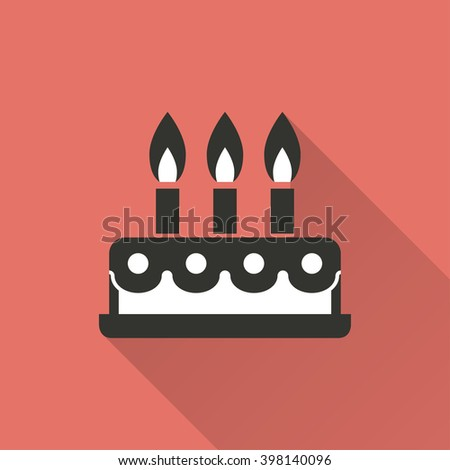 Cake   vector icon with long shadow. Illustration   isolated on red background for graphic and web design.